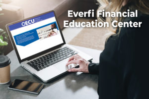 Woman on laptop showing Everfi. Text says Everfi Financial Education Center.