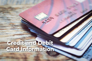 Credit and debit card info pic with text