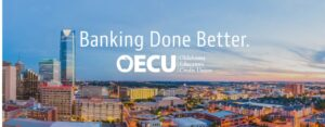 Banking Done Better and OECU logo set in the sky of a panoramic view of Oklahoma City skyline