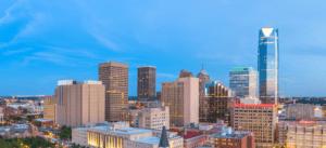 Panoramic view of Oklahoma City skyline; Oklahoma Educators Credit Union,