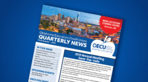 Newsletter cover on blue background