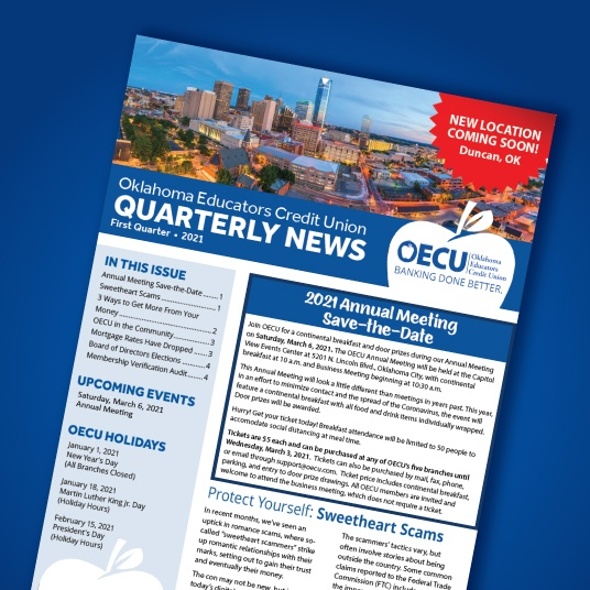 Newsletter cover on blue background